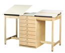 Diversified Woodcrafts DT-82A 2 Station Art/Drafting Table - 8 Drawers