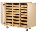 Diversified Woodcrafts MTTC-4824WD Mobile Tote Tray Storage Cabinet-24 Trays/Locking Doors