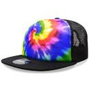 Decky 1079 Tie Dye Print Trucker Caps, Rainbow