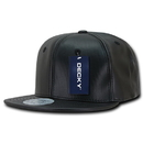 Decky 1103 Faux Leather Snapbacks, BLK