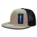 Decky 1138 Jute Trucker Snapbacks, Natural/Black