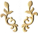 D. Lawless Hardware Birch Wood Applique Pair - Flowers & Stems - 4 3/4