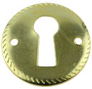 D. Lawless Hardware Round Escutcheon Plate - Brass Plated w/ Rope Edge
