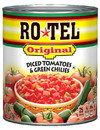 Ro Tel 6414460245 Ro Tel Original Diced Tomatoes And Green Chilies 28 ounces Per Can - 12 Per Case