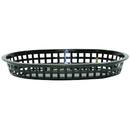 Tablecraft 10.5 Inch X 7 Inch X 1.5 Inch Chicago Oval Platter Black Basket 36 Per Pack - 1 Per Case