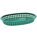 Tablecraft 10.5 Inch X 7 Inch X 1.5 Inch Chicago Oval Forest Green Platter Basket 36 Per Pack - 1 Per Case