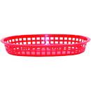 Tablecraft 10.5 Inch X 7 Inch X 1.5 Inch Red Plastic Oval Basket 36 Per Pack - 1 Per Case