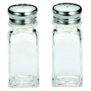 Tablecraft 2 Ounce Square Salt And Pepper Stainless Steel Top Glass Shaker 24 Per Pack - 1 Per Case