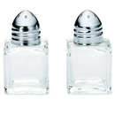 Tablecraft .5 Ounce Cube Salt And Pepper Glass Chrome Top Shaker 24 Per Pack - 1 Per Case