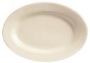 Princess White 8.13 Inch X 5.75 Inch Cream White Rolled Edge Medium Rim Platter 36 Per Pack - 1 Per Case