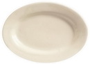 Princess White 9.375 Inch X 6.5 Inch Cream White Rolled Edge Medium Rim Oval Platter 24 Per Pack - 1 Per Case