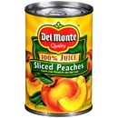 Del Monte Sliced In 100% Juice Yellow Cling Peaches 15 Ounce Can - 12 Per Case