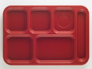 Cambro Penny Saver-Co-Polmer 10 Inch X 14.5 Inch School Compartment Cranberry Tray 24 Per Pack - 1 Per Case