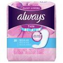 Always Regular Thin Pantiliner Unscented 20 Count 2 Per Pack - 12 Packs Per Case