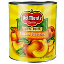 Del Monte In Pear Juice Sliced Yellow Cling Peaches #10 Can - 6 Per Case