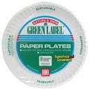 Ajm PP9GRAWH Ajm Green Label 9 Paper Plates 100 Per Pack - 12 Packs Per Case