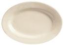 Princess White 13.5 Inch X 9.75 Inch Rolled Edge Cream White Medium Rim Platter 12 Per Pack - 1 Per Case
