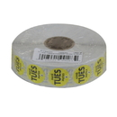 National Checking .75 Inch Circle Trilingual Permanent Yellow Tuesday Label 2000 Per Roll - 1 Per Case