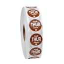 National Checking .75 Inch Circle Trilingual Permanent Brown Thursday Label 2000 Per Roll - 1 Per Case