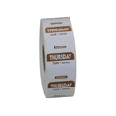 National Checking 1 Inch X 1 Inch Trilingual Brown Thursday Permanent Label 1000 Per Roll - 1 Per Case