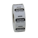 National Checking 1 Inch X 1 Inch Trilingual Black Sunday Permanent Label 1000 Per Roll - 1 Per Case