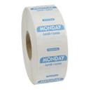 National Checking 1 Inch X 1 Inch Trilingual Blue Monday Dissolvable Label 1000 Per Roll - 1 Per Case