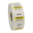 National Checking 1 Inch X 1 Inch Trilingual Yellow Tuesday Dissolvable Label 1000 Per Roll - 1 Per Case
