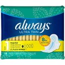 Always Ultra Thin Regular With Flexiwings 18 Per Pack - 12 Packs Per Case