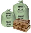 Pitt Plastics BS33G 33X39 1 Mil 33 Gallons Biogreen Star Perf Roll 100(10/10 Count - 33 Gallon Bag) 126(9/14) Black Ink