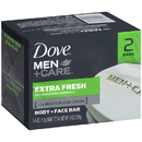 Dove Men+Care Extra Fresh Body And Face Soap Bar 4 Ounce Bar - 2 Per Pack - 24 Per Case