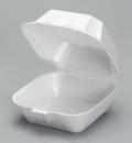 Genpak 5.63 Inch X 5.75 Inch X 3.175 Inch White Large Sandwich Foam Hinged Container 125 Per Pack - 4 Per Case
