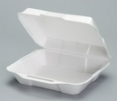 Genpak 23000 Medium Hi-Volume Foam Hinged Dinner Container 8.88 X 9.25 X 3 White