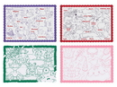 Hoffmaster 10 Inch X 14 Inch 4 Designs Combo Pack Placemat 250 Per Pack - 4 Per Case