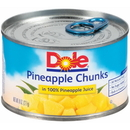 Dole In 100% Juice Ez Open Chunk Pineapple 8 Ounce Can - 12 Per Case