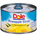 Dole In 100% Juice Ez Open Slice Pineapple 8 Ounce Can - 12 Per Case