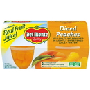 Del Monte In 100% Juice Diced Peach 4 Ounce Plastic Bowl - 4 Per Pack - 6 Per Case