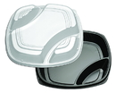Forum 16 3 Compartment Black/Clear Deep Tray With High Dome Lid Combo Pack 25 Eaches - 25 Per Case