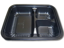 D & W Fine Pack 24 Ounce 3 Compartment Plastic Oblong Carry-Out Black Container 125 Per Pack - 2 Per Case