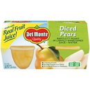 Del Monte In 100% Juice Diced Pear 4 Ounce Plastic Bowl - 4 Per Pack - 6 Per Case