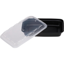 Cubeware 12 Ounce Rectangular Container Black Base With Clear Lid 150 Per Pack - 1 Per Case