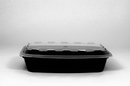Cubeware 28 Ounce Rectangular Container Black Base With Clear Lid 150 Per Pack - 1 Per Case