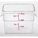 Cambro 12 Quart Clear Measuring Plastic Square Container 6 Per Pack - 1 Per Case