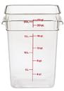 Cambro 22 Quart Clear Measuring Plastic Square Container 6 Per Pack - 1 Per Case