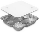 Handi-Foil 3 Compartment Aluminum Large Oblong Tray With Lid 250 Per Pack - 1 Per Case