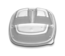 Forum 9 3 Compartment Clear High Dome Vented Square Lid 300 Eaches - 300 Per Case