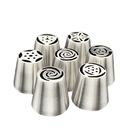 7 Pcs 304 stainless steel Russian Piping Tips Baking Supplies Set Cake Decorating Tips for Cupcake Cookies Birthday Party