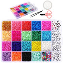 MUKA 10320PCS Glass Seed and Alphabet Letter Beads 3mm for Jewelry Bracelets Making and Crafts with Accessories DIY Material