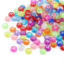 Muka 200Pcs 7mm Alphabet Letter Beads Transparent Multicolor Acrylic for Kids DIY Bracelets Necklaces