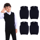 TOPTIE 5PCS Boys V-Neck Cotton Knit Sleeveless Solid Color Pullover School Uniform Sweater Vest (Navy/Black)