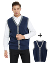 TOPTIE 2 Pack Men's Casual Slim Fit Knitted V-Neck Button Down Sleeveless Sweater Cardigan Vest